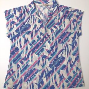 VTG 70's UNION MADE Floral Daffodil Blouse